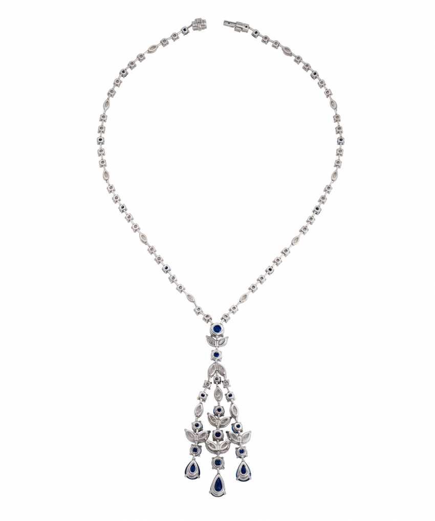 GRAFF SAPPHIRE AND DIAMOND PENDENT NECKLACE - photo 2