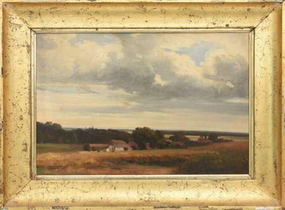 "UNKNOWN PAINTER ""Noddeutsche level with farm"", Oil on cardboard, framed, circa 1910 - photo 1"