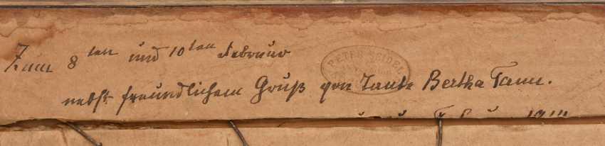 "UNKNOWN PAINTER ""Noddeutsche level with farm"", Oil on cardboard, framed, circa 1910 - photo 3"