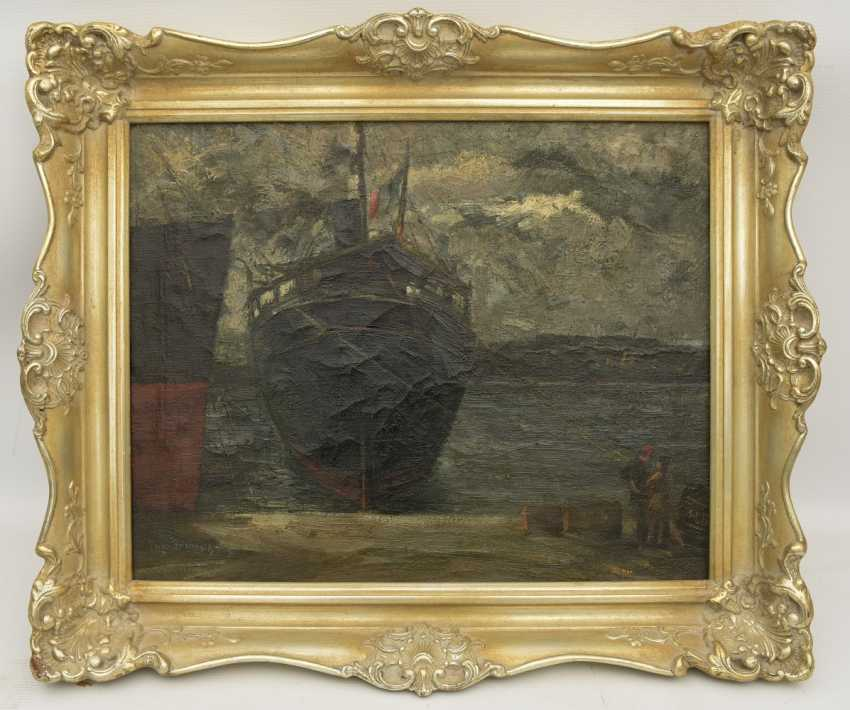 """AUGUST of Braunschweig,""""the Italian freighter in port"""", Oil on canvas, framed, signed, times and dated - photo 24"""