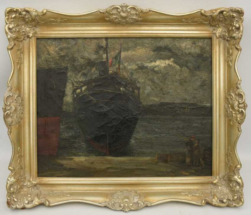 """AUGUST of Braunschweig,""""the Italian freighter in port"""", Oil on canvas, framed, signed, times and dated - photo 13"""
