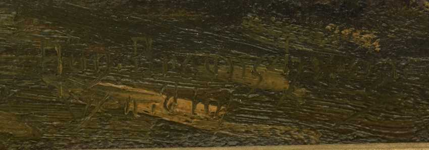 """AUGUST of Braunschweig,""""the Italian freighter in port"""", Oil on canvas, framed, signed, times and dated - photo 16"""