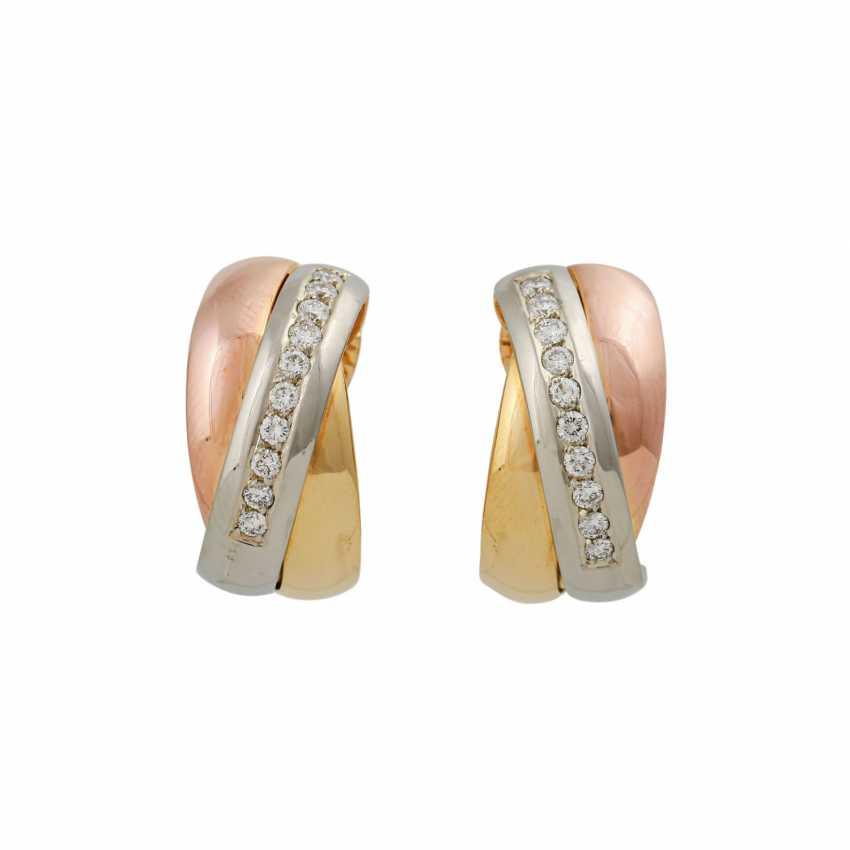 Pair of half hoop earrings with diamonds - photo 1