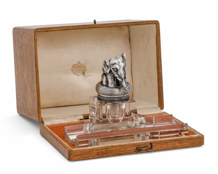 A PARCEL-GILT SILVER-MOUNTED CUT-GLASS INKSTAND - photo 1