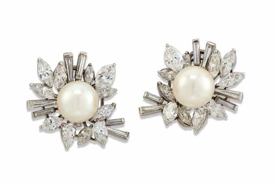 CULTURED PEARL AND DIAMOND EARRINGS, CARTIER - photo 1