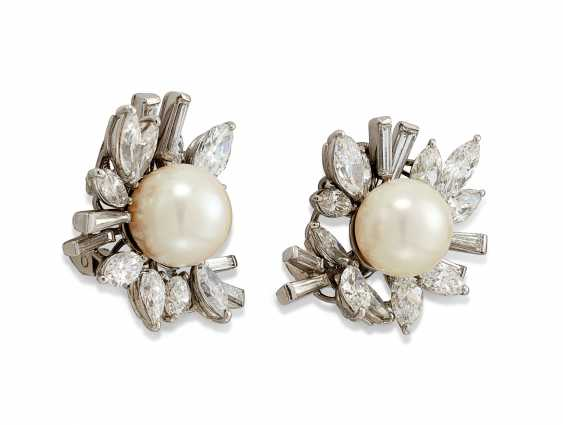 CULTURED PEARL AND DIAMOND EARRINGS, CARTIER - photo 2