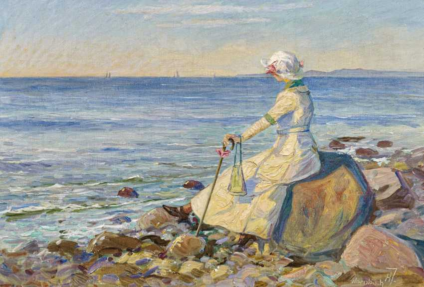 Ella, the artist's wife on Hornbaek Beach - photo 1