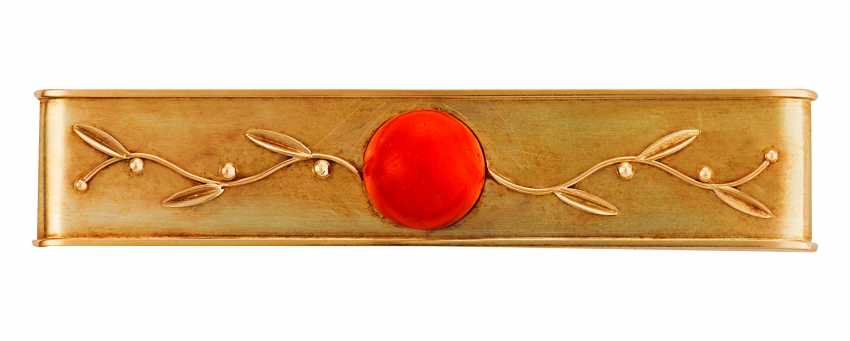 Art Nouveau bar brooch with coral - photo 1