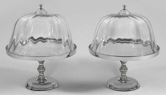 Pair of cake platters with glass dome - photo 1
