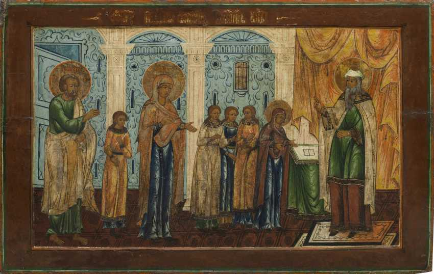 Large icon with the introduction of Our Lady into the temple - photo 1