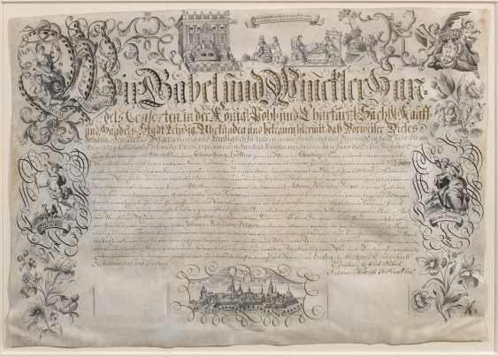 Baroque business apprenticeship certificate signed by the Leipziger - photo 1
