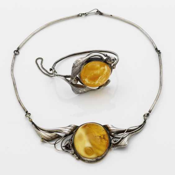 Art Nouveau parure with amber - photo 1