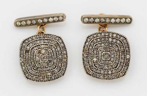 Pair of Russian diamond-trimmed cufflinks - photo 1