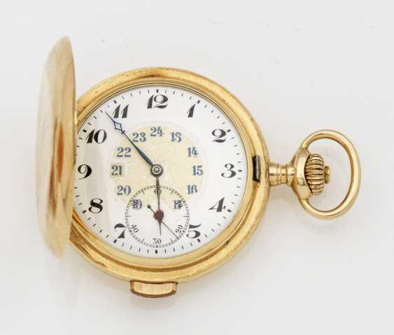 Gold hunter pocket watch with quarter-hour repeater - photo 1
