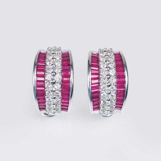 Pair of ruby and diamond half hoop earrings - photo 1