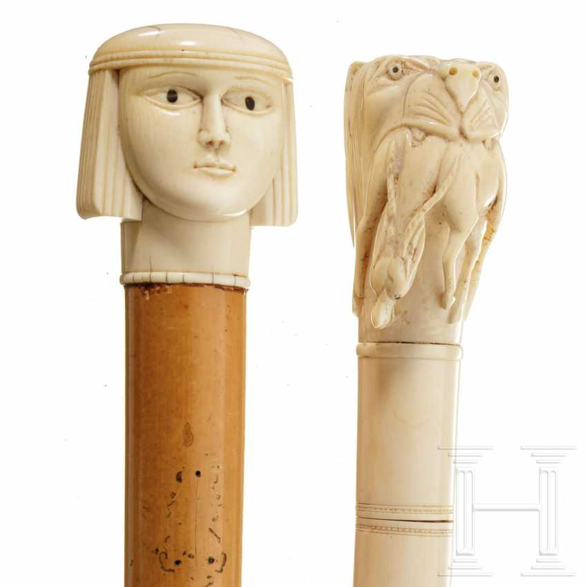 Two carved ivory walking sticks, Europe / Egypt, around 1900 - photo 3