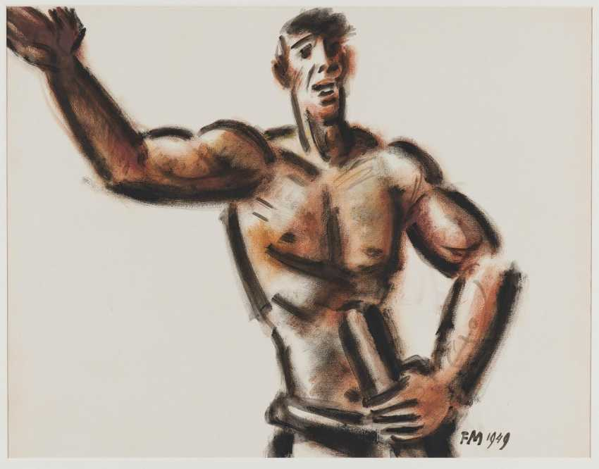 Dock worker facing away with arms outstretched - photo 2