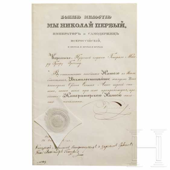 Two certificates for the Order of St. Anna 1st class and 2nd class, Russia, dated 1834 and 1867 - photo 1