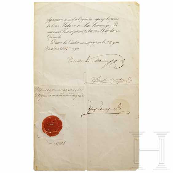 Two certificates for the Order of St. Anna 1st class and 2nd class, Russia, dated 1834 and 1867 - photo 3