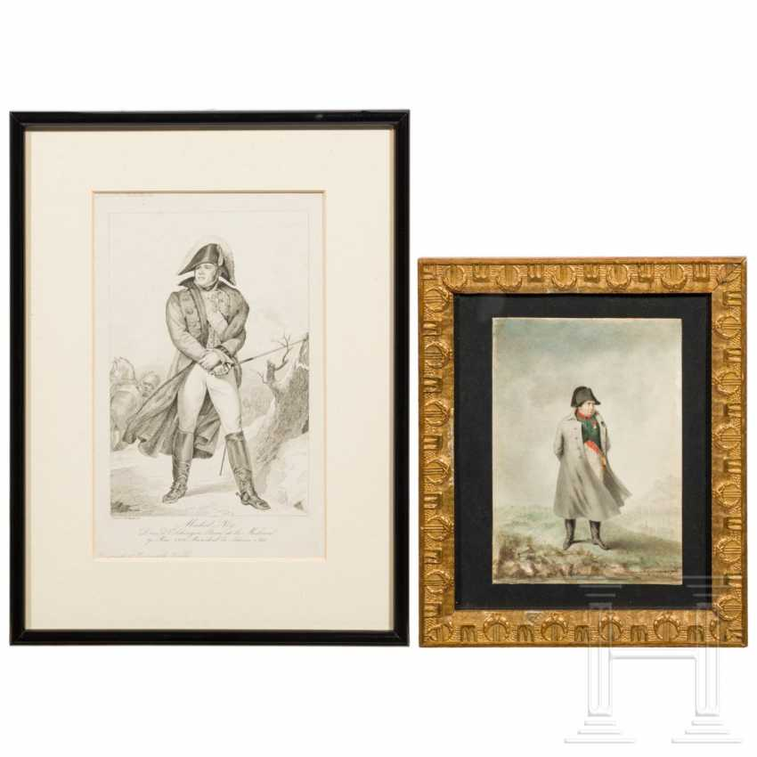 Contemporary watercolor of Napoleon and engraving by Ney - photo 1