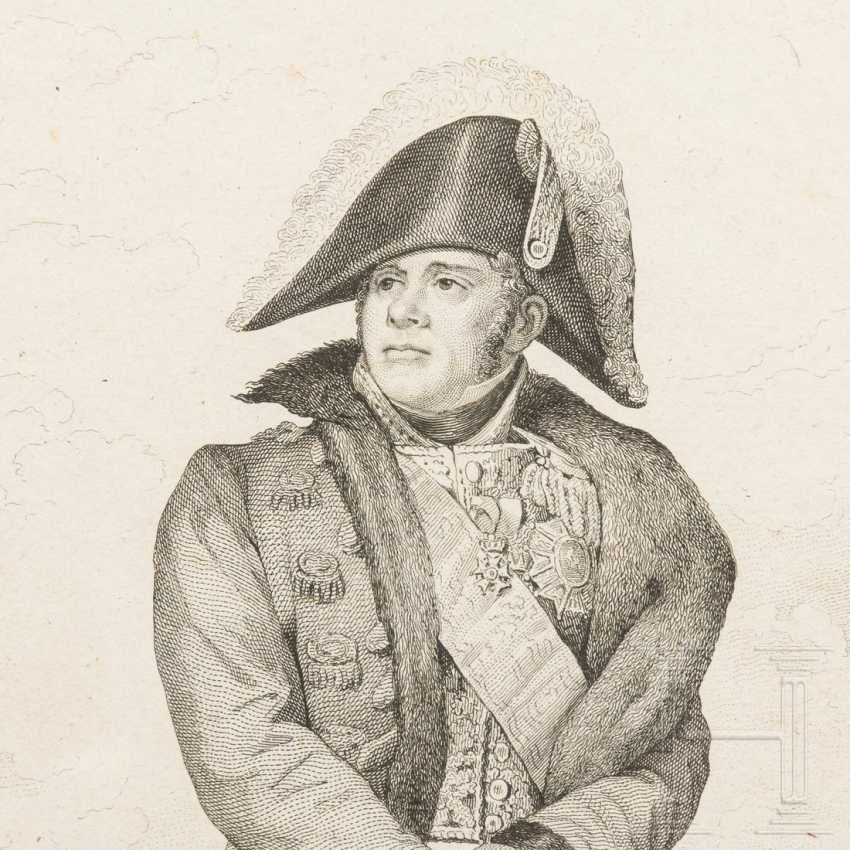 Contemporary watercolor of Napoleon and engraving by Ney - photo 3