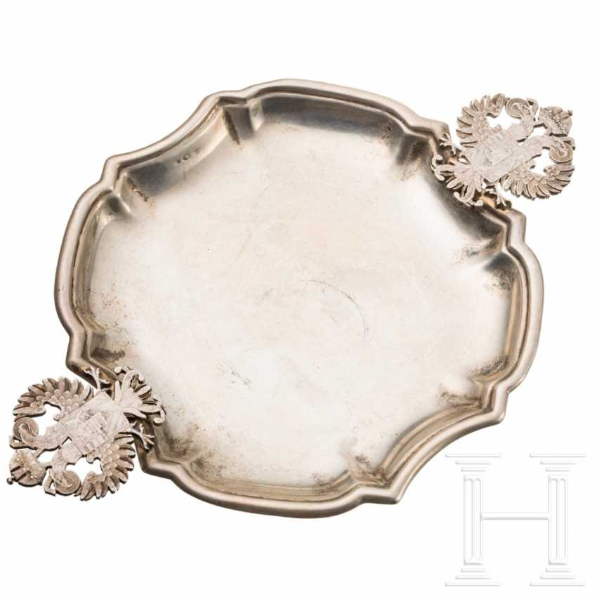 Small silver tray with a double-headed eagle handle and depiction of the coat of arms for Austria-Hungary, 19th century - photo 1