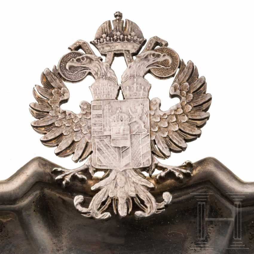 Small silver tray with a double-headed eagle handle and depiction of the coat of arms for Austria-Hungary, 19th century - photo 3
