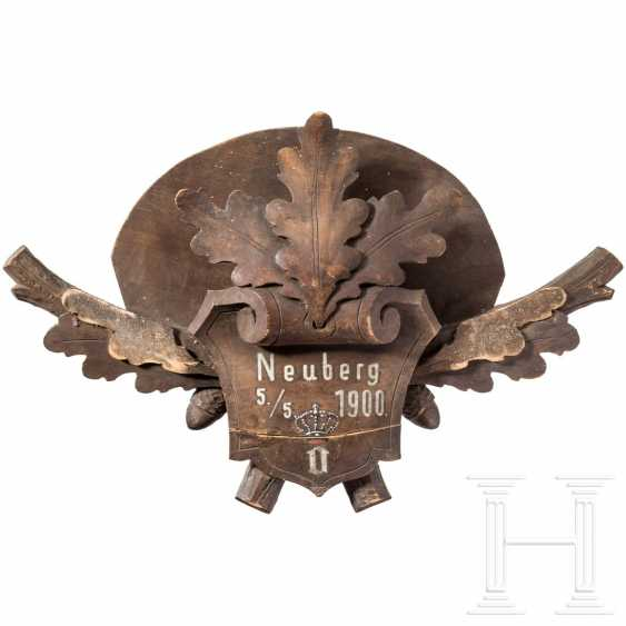 Emperor Franz Joseph I - wood-carved wall mount for a capercaillie plumage, Neuberg an der Mürz hunting lodge, 5.5.1900 - photo 1