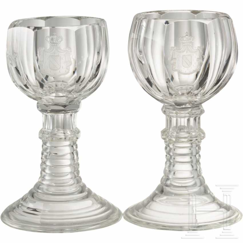 Two crystal glass liqueur glasses with the coat of arms of the Grand Dukes of Baden - photo 1