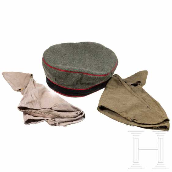 Field cap M 1910 of the artillery and two helmet covers for crews / NCOs - photo 1