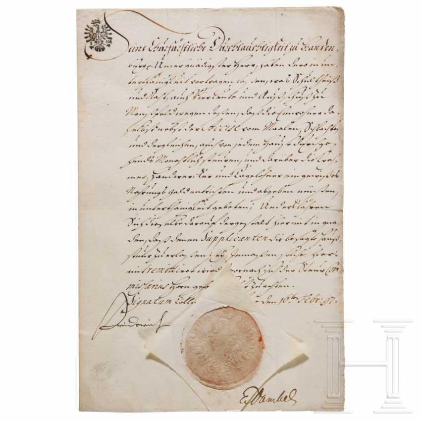Prussia - Elector Friedrich III., Autograph, dated February 16, 1697 - photo 1