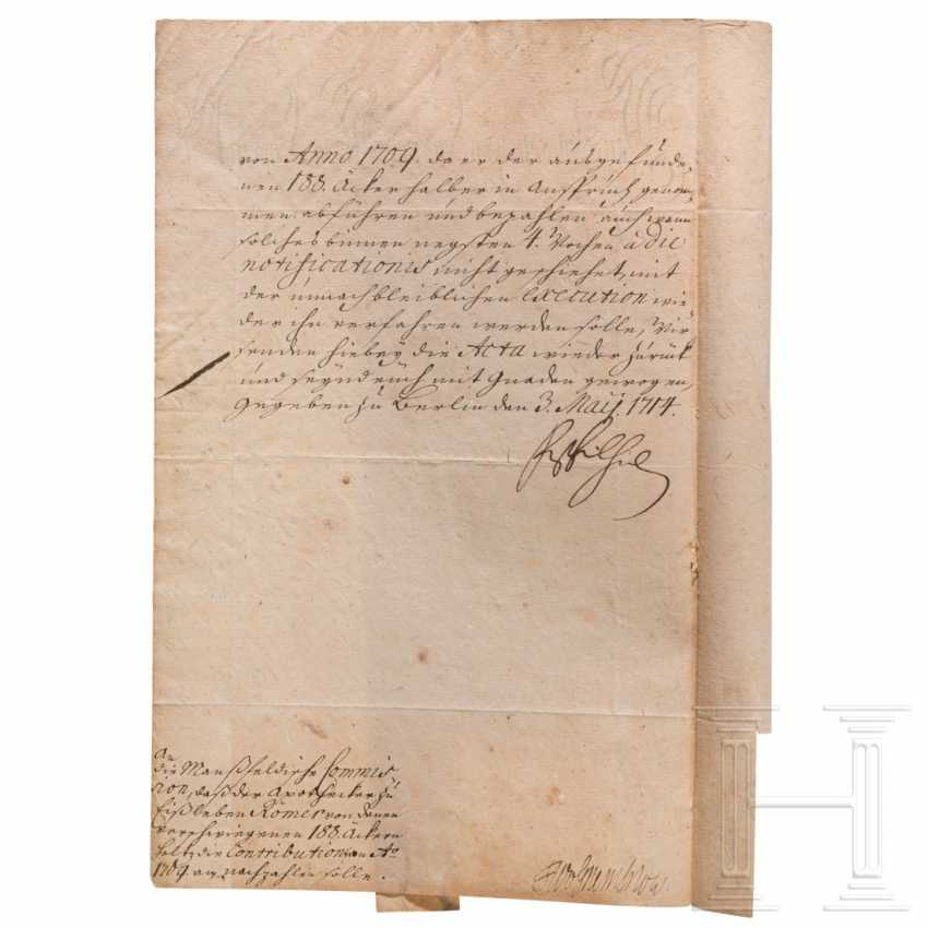 Prussia - King Friedrich Wilhelm I, autograph, dated May 3, 1714 - photo 1