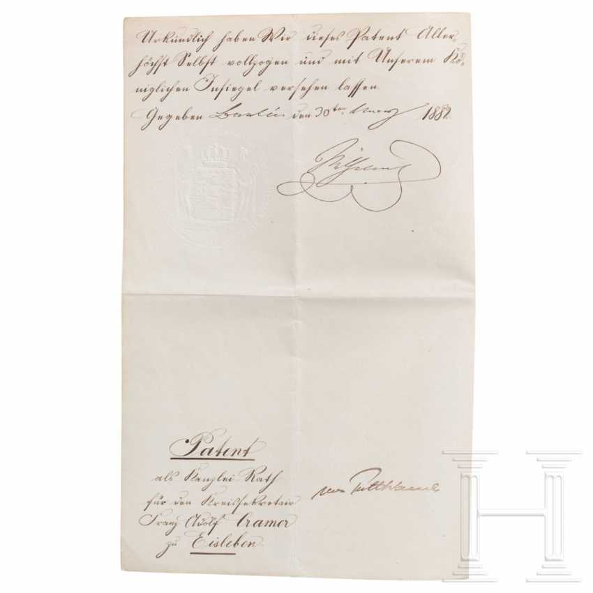 Prussia - King Wilhelm I, a patent for the chancellery from 1882 - photo 1