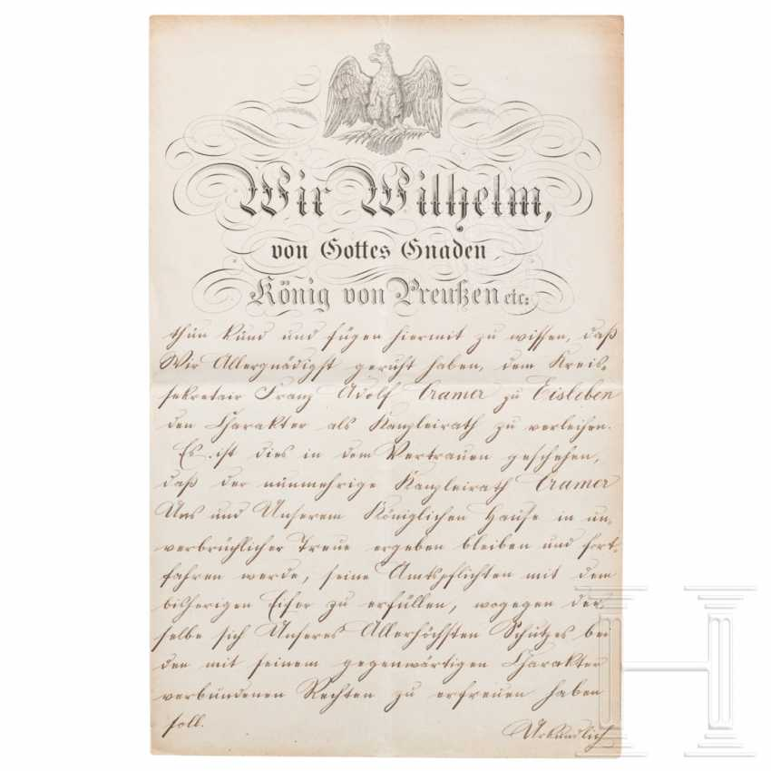 Prussia - King Wilhelm I, a patent for the chancellery from 1882 - photo 2