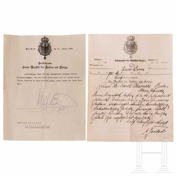 Autographs by the imperial couple Wilhelm II and Hermine and a vase - photo 7