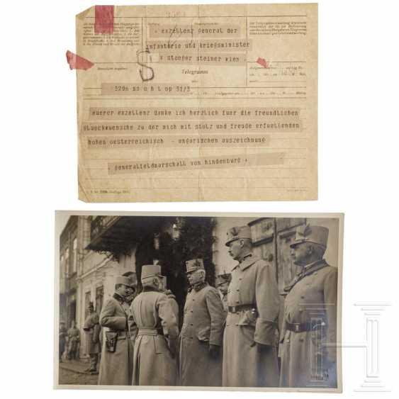 Field Marshal General Paul von Hindenburg - telegram of thanks to Baron von Stöger-Steiner von Steinstätten from the 1st World War - photo 1