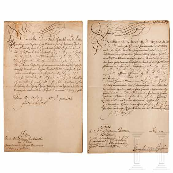 Elector Friedrich August III. von Sachsen - two orders for witness officers, dated 1782 and 1793 - photo 1