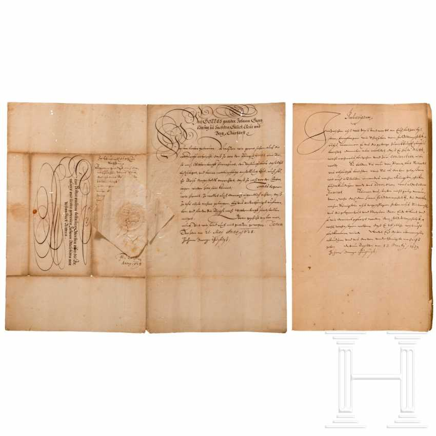 Elector Johann Georg I of Saxony - two military documents, dated 1628 and 1639 - photo 1