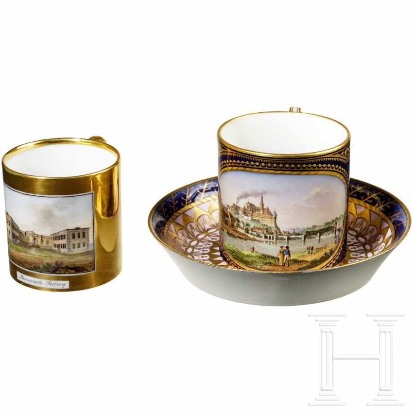 Two cups, Meissen and Gotha, 1st half of the 19th century - photo 1
