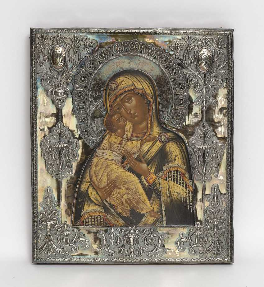 Wladimirskaja, Mother of God, around 1840 - tempera with gold on wood - photo 1