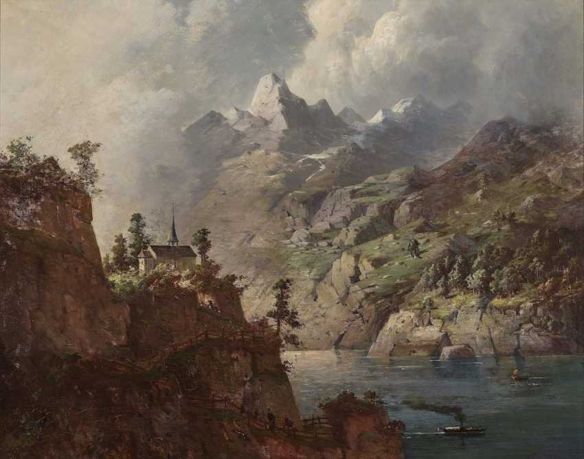 August Seidel,  zugeschrieben  - Gewitterstimmung über einem Gebirgssee  - Foto 1