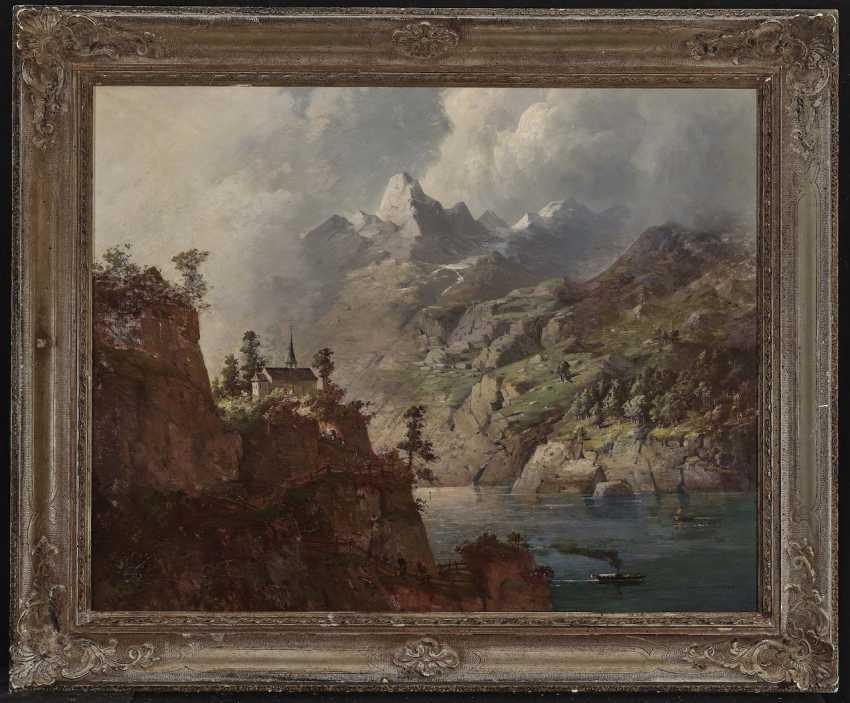 August Seidel,  zugeschrieben  - Gewitterstimmung über einem Gebirgssee  - Foto 2