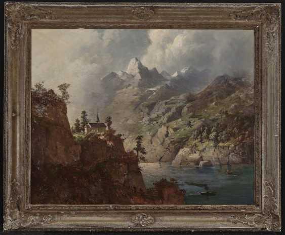 August Seidel,  zugeschrieben  - Gewitterstimmung über einem Gebirgssee  - Foto 3