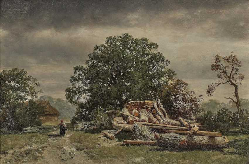 Max (August Maximilian) Zimmermann - Tree landscape with brushwood collector - photo 1