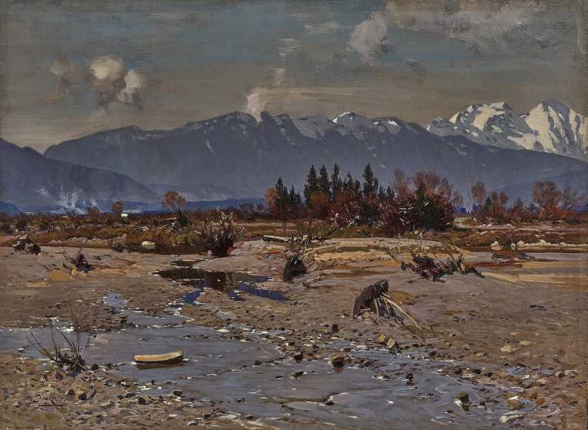 Otto Strützel - In the Isar Valley with a view of the Karwendel Mountains - photo 1
