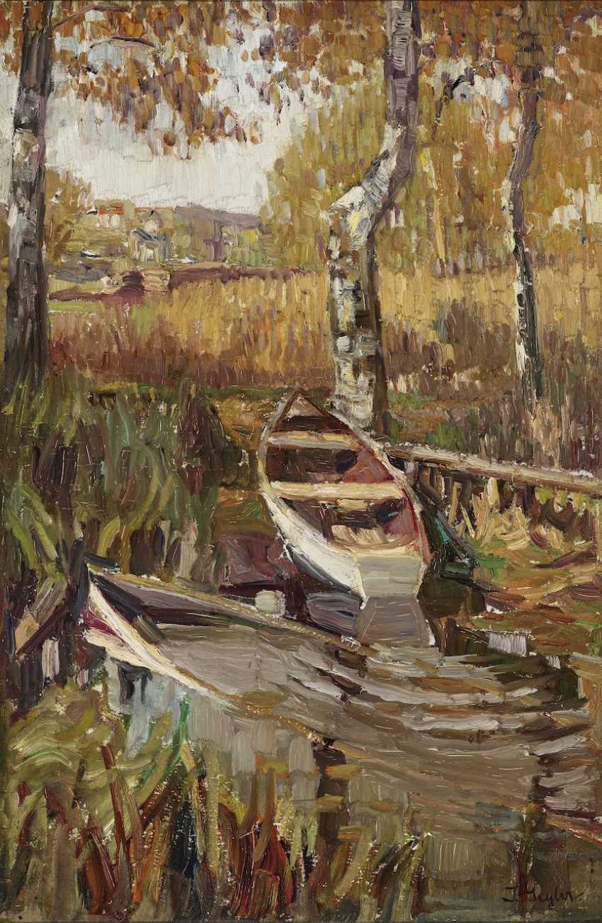 Seyler, Julius - Autumn forest pond with a boat - photo 1