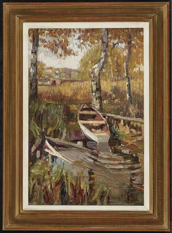 Seyler, Julius - Autumn forest pond with a boat - photo 2