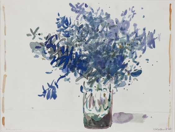 Oskar Koller - Flowers in Moroccan vase. Delphinium. Antibes. 1981-1994  - photo 4