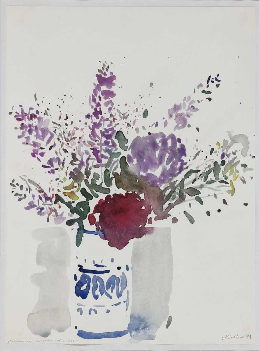Oskar Koller - Flowers in Moroccan vase. Delphinium. Antibes. 1981-1994  - photo 5