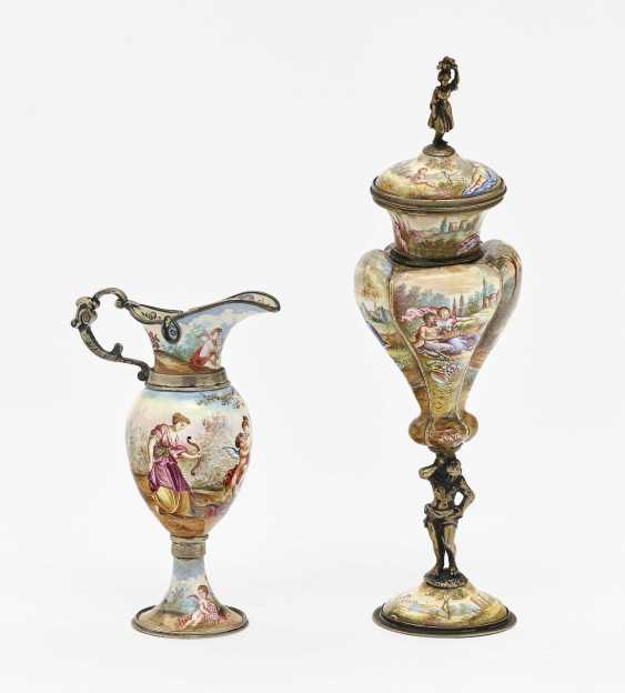 Small lidded goblet and ornamental jug Vienna, 2nd half of the 19th century - photo 1